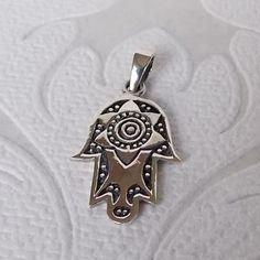 Solid .925 Sterling Silver Khamsa Pendant Evil Eye Charm Jewelry Hand of Fatima