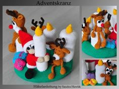 Häkelanleitung, DIY - Adventskranz - Ebook, PDF, deutsch oder englisch - New Ideas Crochet Christmas Decorations, Holiday Crochet, Christmas Wreaths, Christmas Crafts, Christmas Ornaments, Best Christmas Gifts, Christmas And New Year, Advent Wreath, Present Gift