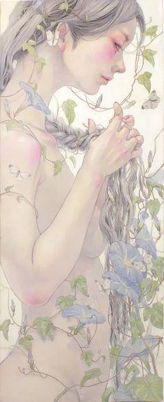 Miho Hirano - うたげー朝顔ー WF6 Oil on canvas