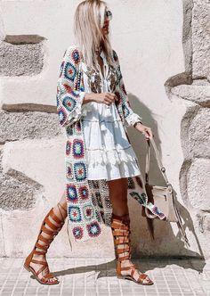 Crochet Jacket, Crochet Cardigan, Crochet Granny, Knit Crochet, Crochet Lingerie, Coat Of Many Colors, Crochet Fashion, Jumpers, Kimono Top