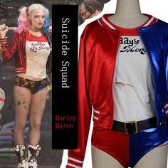 Halloween Batman Harley Quinn  Women Coat Cosplay Costume Suicide Squad T-Shirt #Aicos #CosplayHalloweenThemeparty