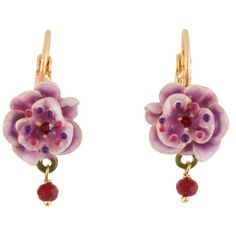 Les Nereides Wild Rose Pink Rose With Red Drop Earrings ($86) ❤ liked on Polyvore featuring jewelry, earrings, pink, rose earrings, pink earrings, 14k earrings, 14 karat gold earrings and red jewelry