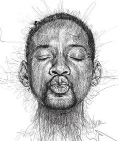 Scribble Portraits van Vince Low: Will Smith