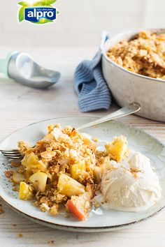 Apple crumble and vanilla ice cream is a classic combo. Try adding Alpro Vanilla Ice Cream to desserts for an easy plant-based twist – it's perfect with cakes, cookies, and waffles too!