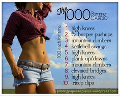 The 100 Summer Cardio workout.  {Piloting Paper Airplanes}