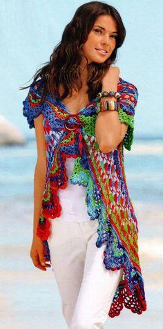 Patrones Crochet: Tunica-Chaleco con Circulo Crochet
