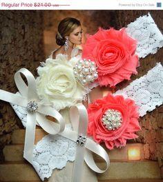 ON SALE Coral Wedding Garter, White Lace Wedding Garter, Pink Garter, Bridal Garter Set