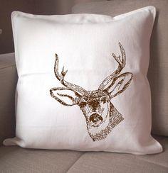 esty deer throw pillow