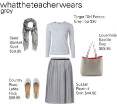 We love this Grey combo created by @whattheteacherwears featuring our Bastile Handbag in Dove Grey/Coral #whattheteacherwears #louenhide