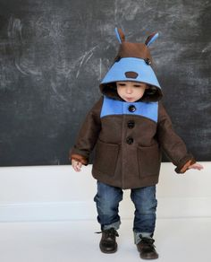 Boys Teddy Bear Coat in Blue by littlegoodall on Etsy
