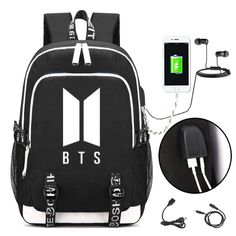 Youngate Kpop BTS Backpack is made from eco-friendly cotton canvas, well sewn craftsmanship and multiple pockets for organization. Youngate Kpop BTS Backpack with USB Charging Port Bts Backpack, Backpack Outfit, Backpack Bags, Mini Backpack, Mochila Kpop, Mochila Do Bts, School Bags For Boys, Shoulder Bags For School, Bts School