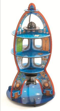 Djeco ~ 3D Up To Space  Fabulous Djeco Pop N Play Space Craft. These sturdy cardboard structures are easy to assemble and provide a very decorative backdrop to your games. Invent stories with their own figurines for hours of fun.