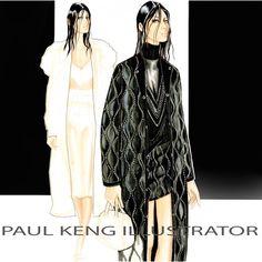 Alexander Wang Fall 2015 RTW   Illustration by Paul Keng Fashion Design Sketches, Sketch Fashion, Fashion Drawings, Fashion Illustrations, Fashion Art, Vintage Fashion, Fashion Sketchbook, Woman Drawing, Contemporary Fashion
