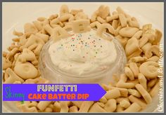 Skinny Funfetti Cake Batter Dip; a healthy yet DELICIOUS after school snack