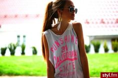 #sunglasses #neon #top #ponytail