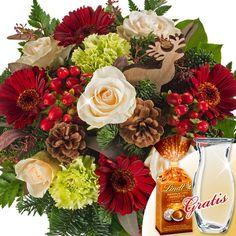 Blumenstrauß Winterwald mit Vase und Lindt Mandeln #Blumenstrauß #Winter