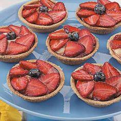 Strawberry Cream Tarts! #yummy #berries #cream #sweets #America #redwhiteandblue #4thofJuly