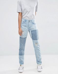 The Ultimate Guide to Fall's Hottest Denim Trends  Asos 'Brady' Low Rise Patchwork Boyfriend Jeans ($57)