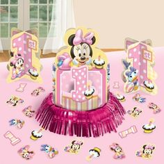 Baby Minnie Mouse 1st Birthday Table Decorating Kit Disney Centerpiece $8.04