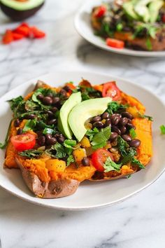 This Mexicali recipe for vegan stuffed sweet potatoes is full of ingredients with protein, healthy fat, and fiber.