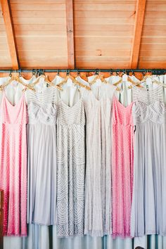 A myriad of gorgeous gowns! From gowns to paper-flower backdrops, a wedding you won't soon forget! OneLove Photo.com See it all on SMP:  http://www.StyleMePretty.com/california-weddings/2015/05/24/a-romantic-affair-in-healdsburg/