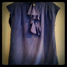 🎉HP🎉 Michael Kors brushed silk cap sleeve top Beautiful, buttery feel to this fantastic purple top with zip up ruffle collar. Heavy duty zipper with MK logo, subtle pleating in back. MICHAEL Michael Kors Tops Blouses
