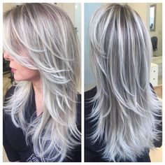silver blonde hair highlights going gray Platinum Blonde Hair Color, Silver Blonde Hair, Ombre Hair Color, Cool Hair Color, Silver Ombre, Icy Blonde, Gray Ombre, Hair Color Silver Grey, Long Silver Hair
