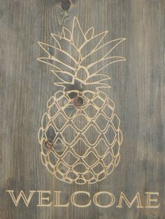 The pineapple is such a fun and creative element for a welcome sign, and has become an instant favorite. This 11x15 wood board is carved with a