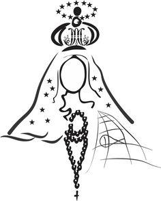 Imagem que Representa 3 das formas como Maria Santíssima é conhecida pelos Católicos, Onde Temos a Coroa da Imaculada Conceição, o Mando de Nossa Senhora Aparecida e o terço de Nossa Senhora de Fátima... A rede representa a Paróquia de São Pedro e a Água representando a Lagoa