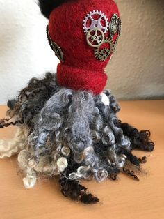 Handmade Sculpture Made Quirky Gifts, Gothic Steampunk, Soft Sculpture, Needle Felting, Raven, Art Decor, Crochet Necklace, Ornament, Brooch