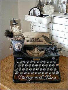 Halloween Typewriter Vignette for Abbie Halloween Home Decor, Spooky Halloween, Holidays Halloween, Vintage Halloween, Halloween Crafts, Happy Halloween, Halloween Decorations, Halloween Party, Pretty Halloween