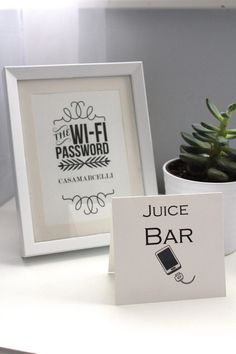 Wifi Password frame & Juice Bar sign.  Thought: I love this idea! It's the…
