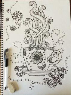 Coffee ☕️or tea 🍵 ? Mandala Design, Mandala Art, Zentangle Drawings, Art Drawings, Graffiti Pens, Writing Art, Doodle Patterns, Sketch Inspiration, Sketch Painting