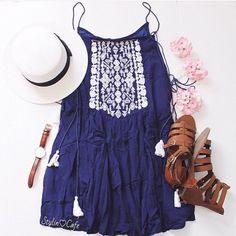 | Navy Blue Tribal Printed Tassel  Dress | White Brim Hat | Brown Gladiator Sandals | Brown Watch |