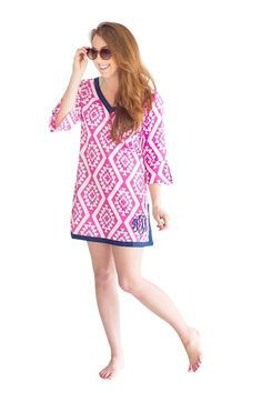 You will love these adorable Tunic Swim Suit Cover-ups!This adorable swim suit coverup is perfect for lounging by the pool, trips to beach, or lounging in a chair by the lake. It is a versatile piece and can be worn over pants as a cute top.Here are some product specs: 100% CottonMachine Wash Cold-Lay Flat to Dry - Cool Iron if NeededPersonalized with heat press vinylWe have Three Adorable Styles Mint Ikat with pink monogram,Coral with Navy Monogram,Pink Aztec with Navy Monogram,...