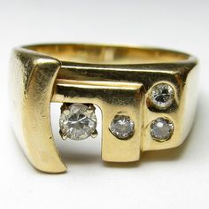 Heavy Man's Estate $5250 14K Yellow Gold 0.23 Ct Brilliant Cut Diamond RIng #Band