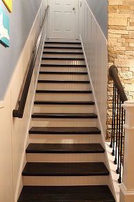 board and batten remodeled staircase, diy, home improvement, stairs, woodworking projects Semarang, Staircase Design, Staircase Diy, House Staircase, Stairway Carpet, Latte, Iron Balusters, Banisters, Staircase Makeover