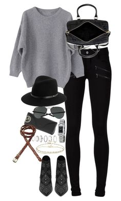 """inspired outfit for the movies"" by pagesbyhayley ❤ liked on Polyvore featuring Paige Denim, Yves Saint Laurent, Ray-Ban, rag & bone, Burberry, Forever 21, Fat Face and ASOS"
