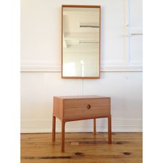 Midcentury Danish Oak Low Hallway Chest / Cabinet / Commode Model 384 and Wall Mirror by Aksel Kjersgaard