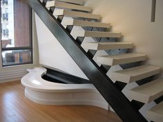 Custom precast concrete stair treads for both residential and commercial projects. Concrete Stairs, Precast Concrete, Curved Bench, Stair Treads, Staircase Design, Site Design, Prefab, Staircases, Lofts