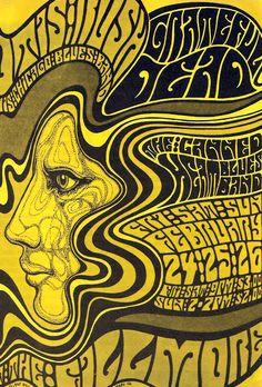 Poster criado por Wes Wilson em 1967 para a banda Grateful Dead