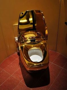 Ha ha pot of gold!!! Most Expensive Things in the World: World's Most Expensive Toilet World's most expensive toilet. This incredibly luxury intensive toilet is made entirely of 24 karat gold.
