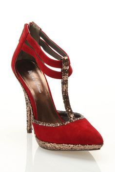 Michael Antonio Laporte T-Strap Pump In Red