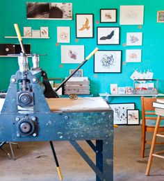 "Sneak Peek: Best of Turquoise. ""Turquoise serves as a perfect backdrop for displaying artwork in Chrissy Poitras and Kyle Topping's print studio."" #sneakpeek"