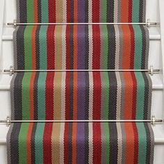 Use a vibrant colourful stair runner carpet to brighten up your hall and stairway. Multi-coloured stair runner from Roger Oates Kyoto Lantern Striped Carpets, Where To Buy Carpet, Hall Carpet, Stair Carpet, Cheap Carpet Runners, Carpet Styles, Modern Carpet, Grey Carpet, Living Room Carpet