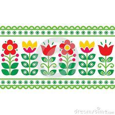Swedish floral retro pattern - long traditional folk art design