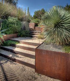 Portfolio Mediterranean landscape - Cor-ten steel planters and retaining wall steps - Desert /arid garden with cacti & succulents