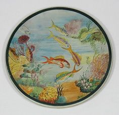 "Exceptional Catalina Island Pottery 14"" Platter w Fish in a Reef by Maude Chase"
