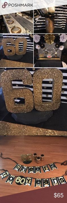 """Gold 60th party decor. Includes: Three gold mason jars, gold glittery #60, birthday banner that reads ""cheers to 60 years"". I also have several gold, white and black paper flowers. I can bundle and send pics of.(seen in the picture collage) Everything was hand made. Paper flowers are extra. Accessories"