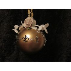 Handcrafted Fleur de Lis w/Crystal and Pearls Gold Glass Ball Ornament Handcrafted Christmas Ornaments, Handmade Christmas, Fabric Ornaments, Ball Ornaments, Gold Glass, Glass Ball, Christmas Bulbs, Gemstones, Pearls